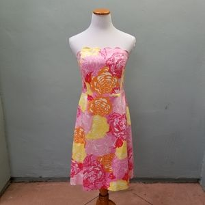 Lilly Pulitzer Floral Strapless Midi Dress 10